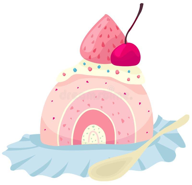 rolki tortowa truskawka ilustracja wektor