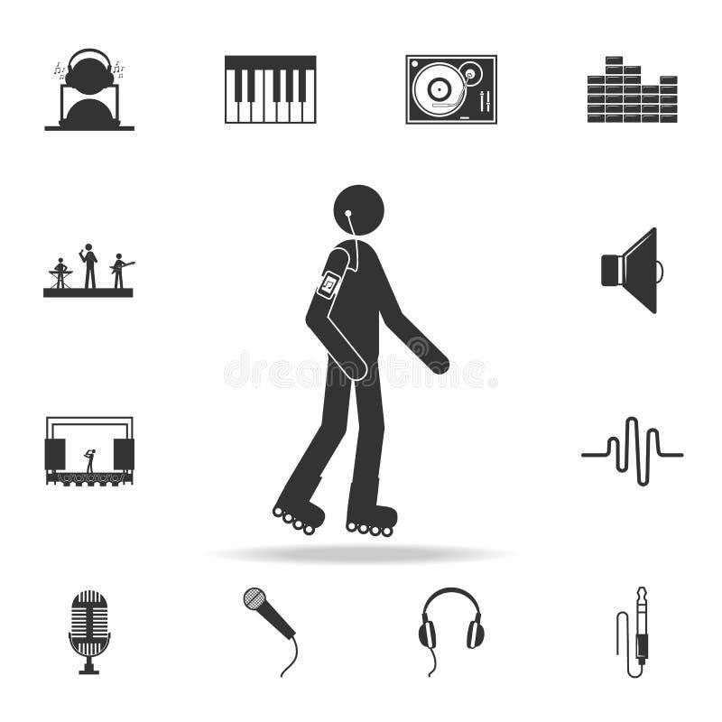 rolkowa łyżwa z hełmofon ikoną Szczegółowy set muzyczne ikony Premii ilości graficzny projekt Jeden inkasowe ikony dla nas ilustracja wektor
