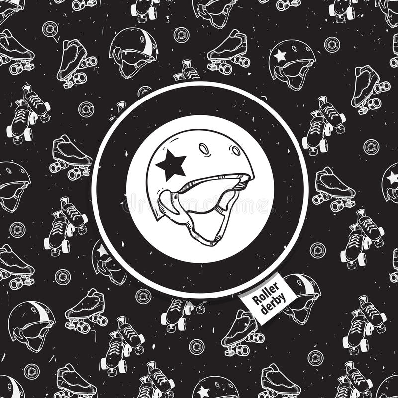 rolkowej łyżwy bezszwowy wzór z rolkową ikoną ilustracji