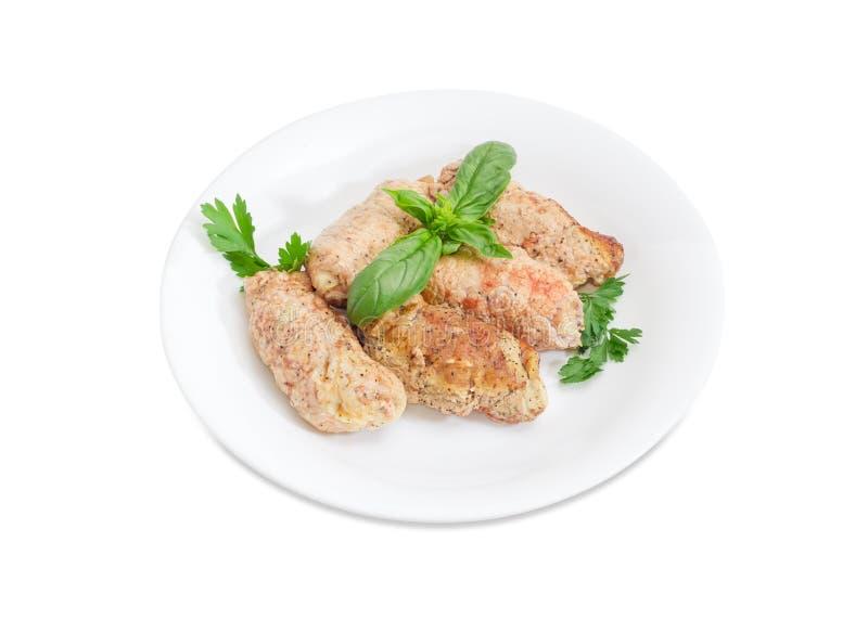 Rollè della carne con il riempimento dai crostini e dai funghi del pane fotografia stock libera da diritti