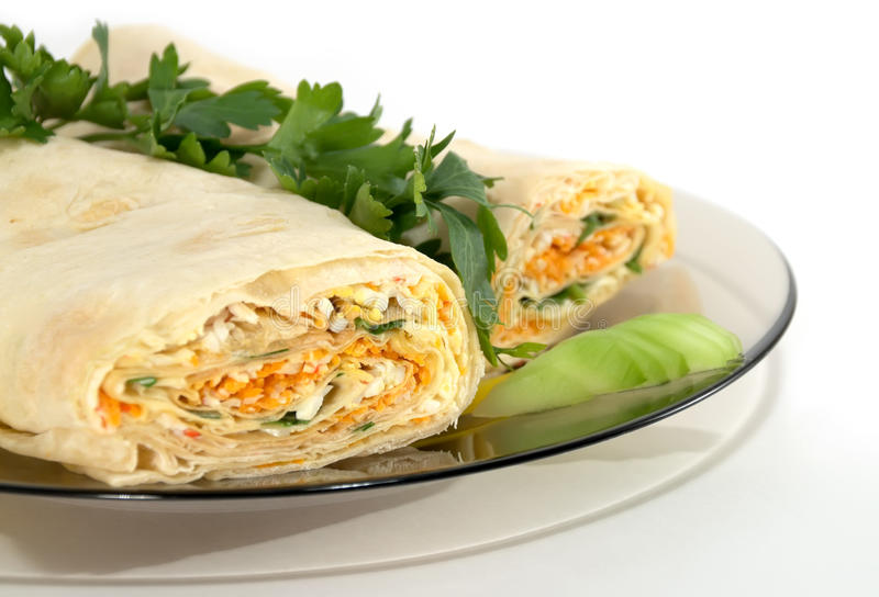 Roll. Of pita bread with salad royalty free stock photo