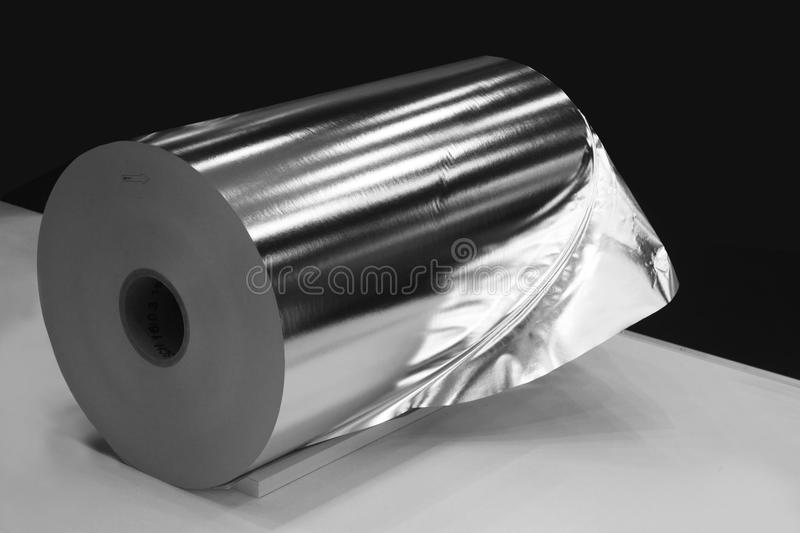 Roll of aluminum foil royalty free stock photo