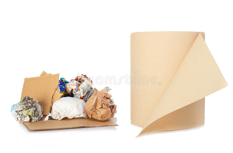 Roll and balls of recycled paper royalty free stock photography