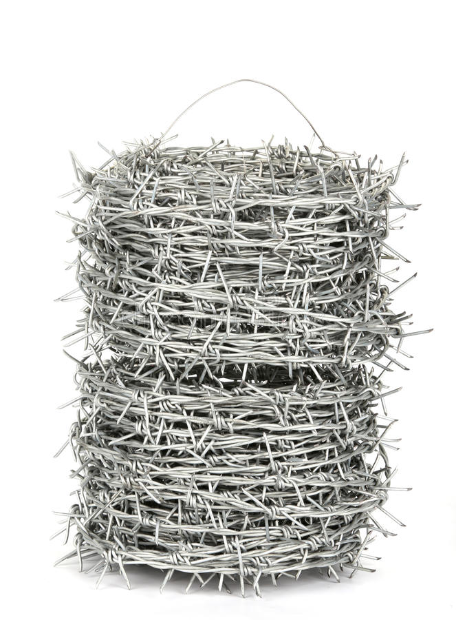 A roll of barbed wire royalty free stock photos