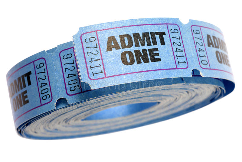 Roll of blue admit one tickets isolated on white background, close up royalty free stock photo