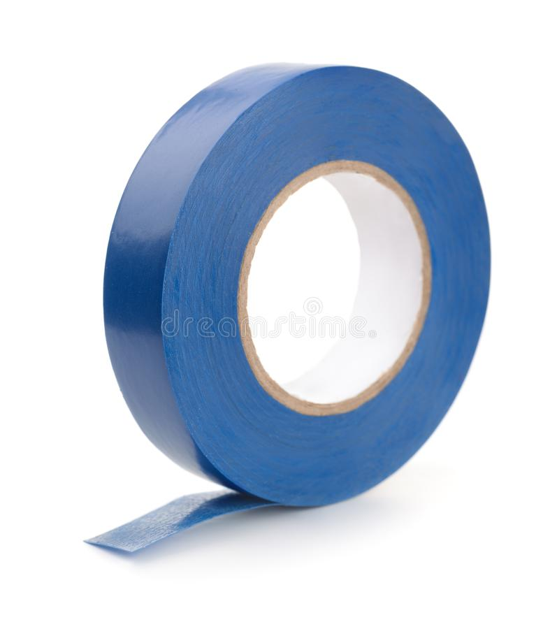 Roll of blue plastic duct tape royalty free stock photos