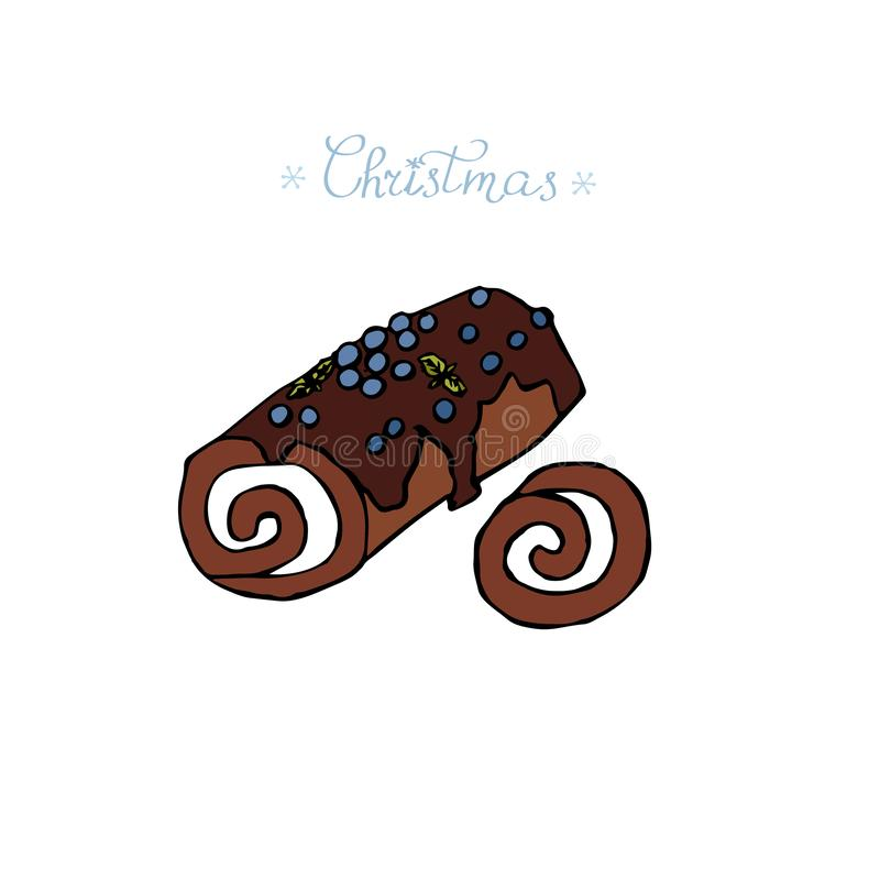 Roll cake with chocolate and berries traditional Christmas and New Year bakery product. Hand drawn illustration vector illustration