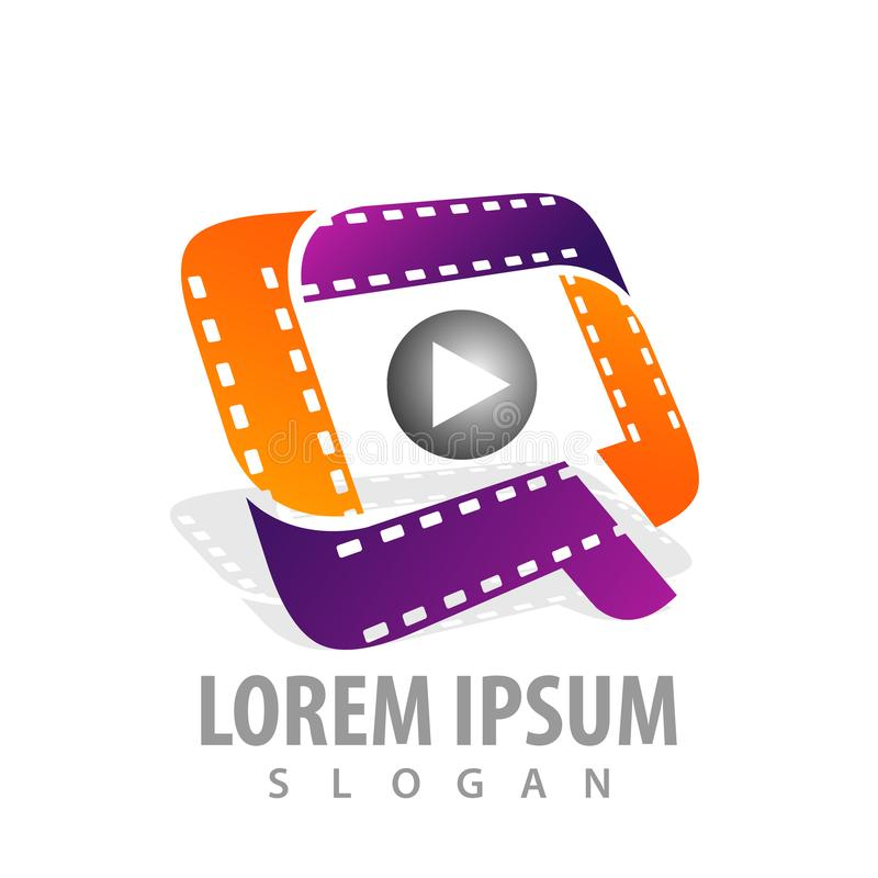 Roll cinema-movie roll film media play logo concept design. initial letter Q. Symbol graphic template element vector. Roll cinema-movie roll film media play logo stock illustration