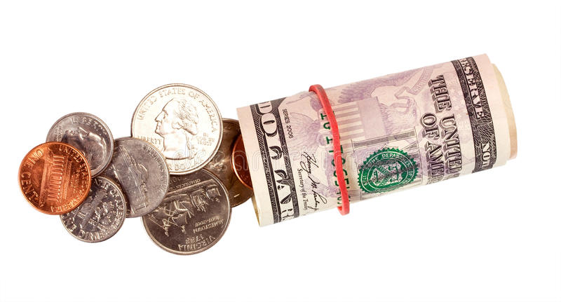Roll dollar and cents. Isolated on white background royalty free stock images
