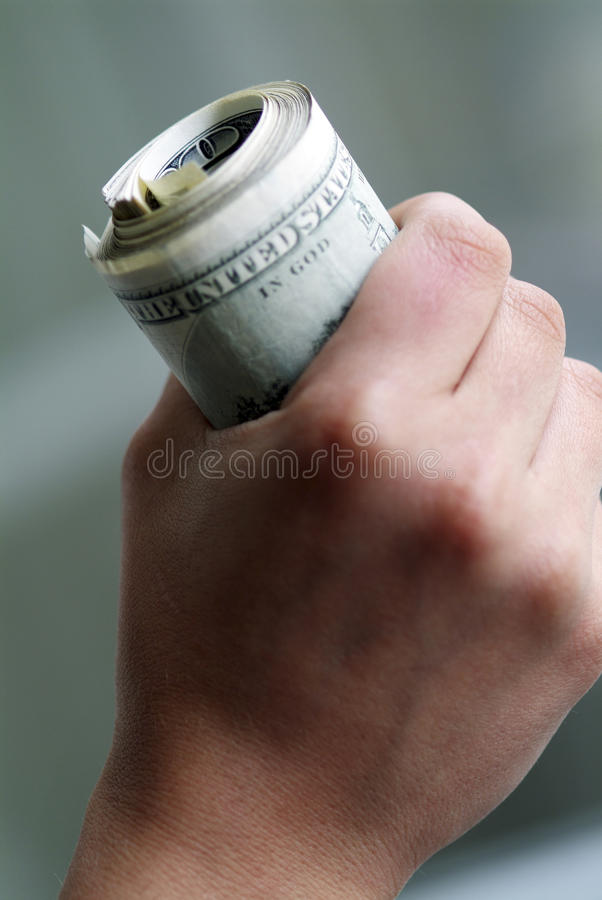 Roll of dollars. stock image
