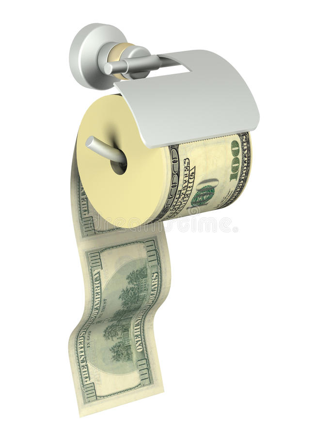 Download The Roll Of Dollars Anchored In Holder For Tissue Stock Illustration - Image: 10710436