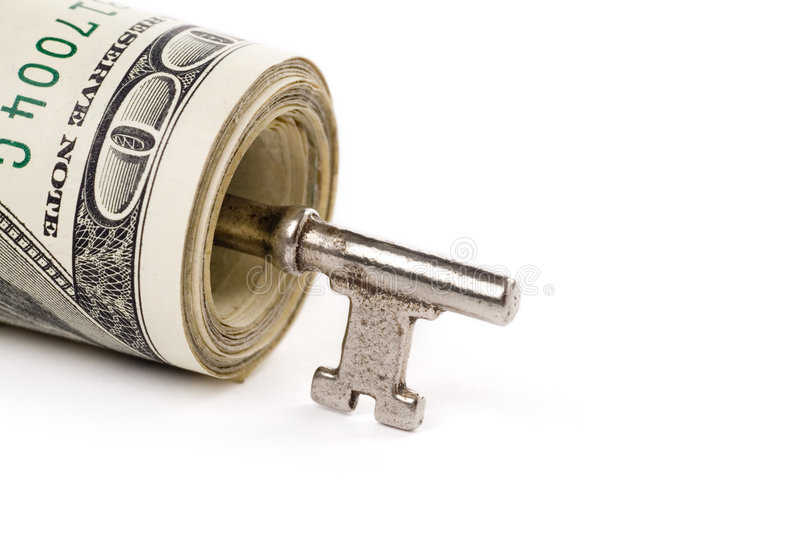 Download A Roll Of Dollars And Key Royalty Free Stock Photos - Image: 2647768