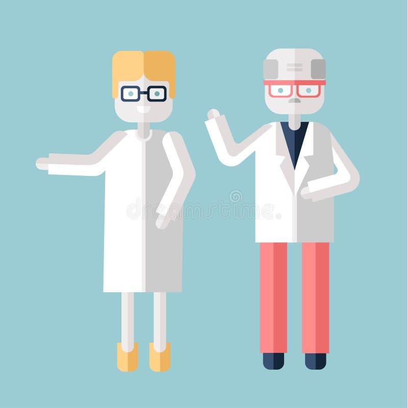 Roll för två åldring, en man och en kvinna i vita lag Läkare, forskare eller kemister Vektorillustration i lägenhet stock illustrationer