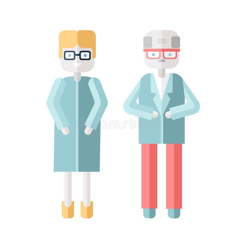 Roll för två åldring, en man och en kvinna Vektorillustration i plan stil som isoleras på vit stock illustrationer