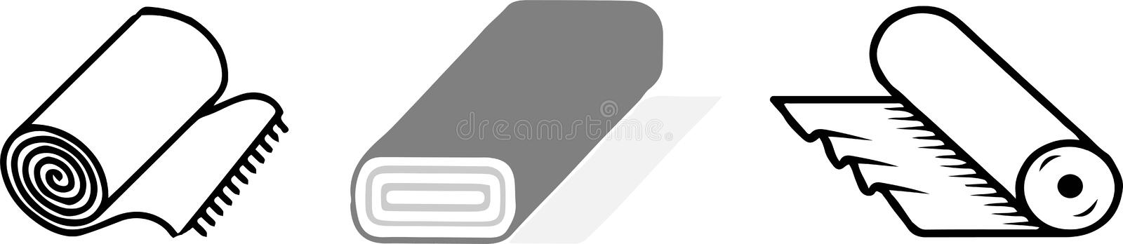 Roll of fabric icon on white background.  stock illustration