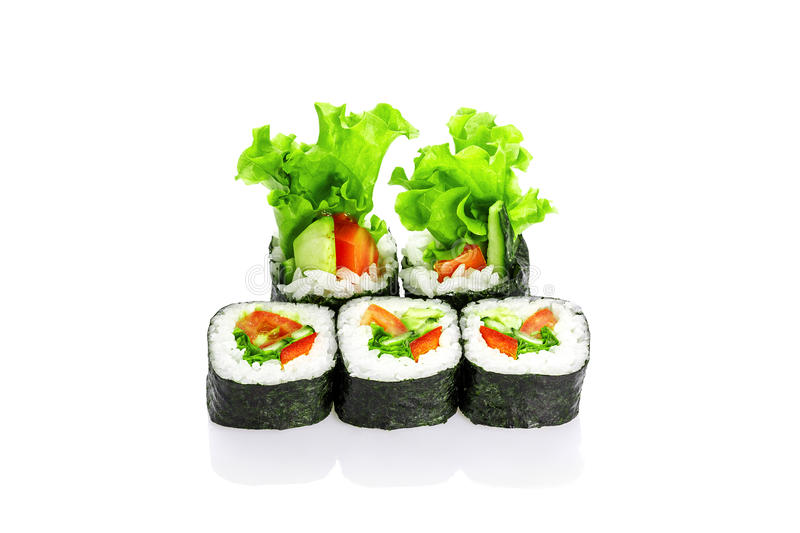 Roll lettuce, tomato, pepper, soft cheese royalty free stock images