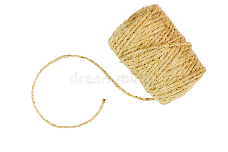 Roll of linen string rope isolated stock photo