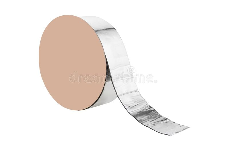 Roll of metallized tape to seal the joints of the roof, tar and rubber, on a white background. Isolate stock image