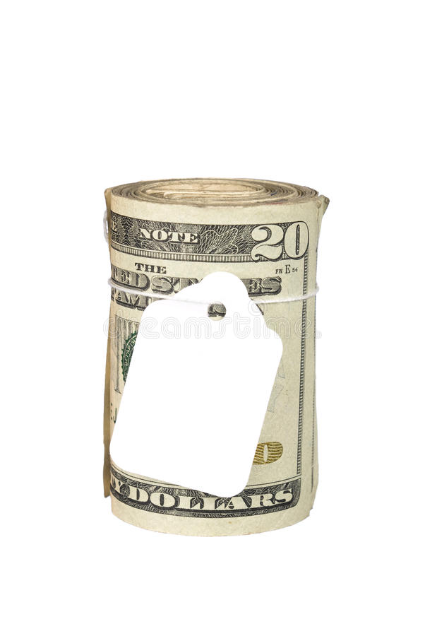 Download Roll Of Money With Blank Price Tag Stock Photo - Image: 10859080