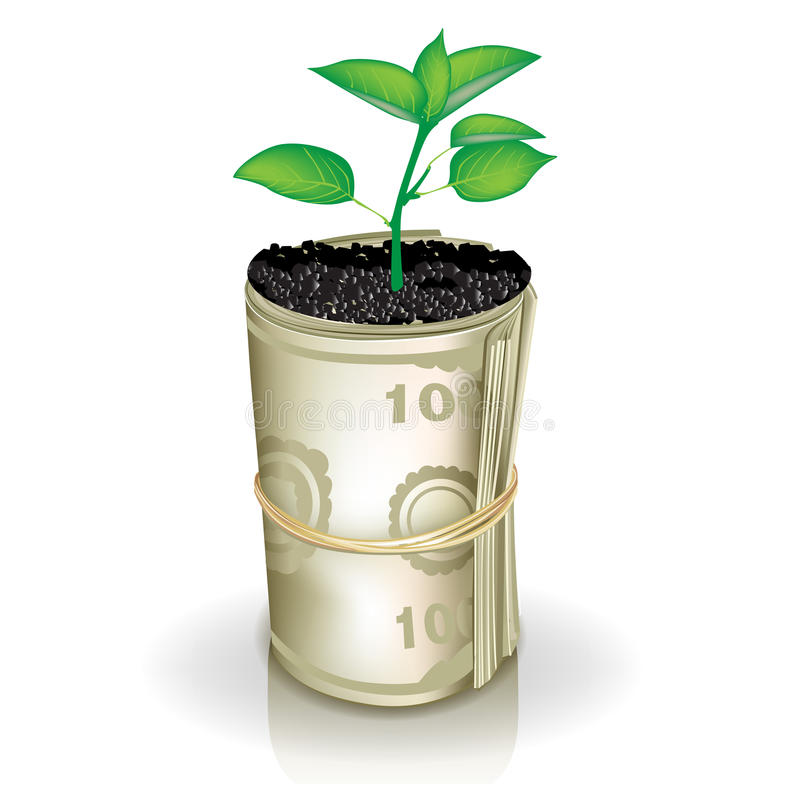 Roll of money and growing plant stock illustration