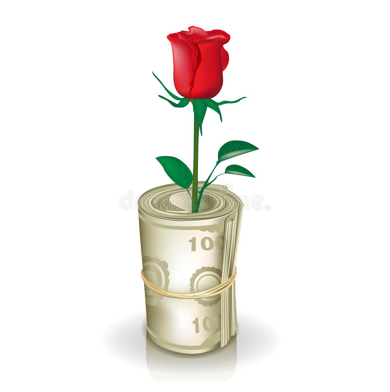 Roll of money with red rose vector illustration