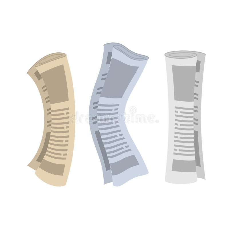 Roll of newspapers set. Rolled of publications on white background.  royalty free illustration