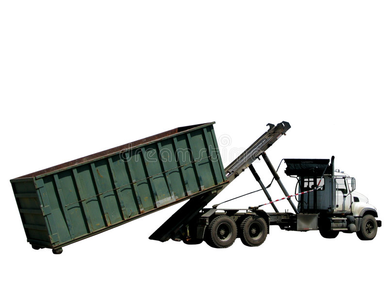 Roll Off Refuse Trash Container and Garbage Truck. Utility truck loading or unloading a roll-off refuse dumpster trash roll off garbage container isolated on stock images