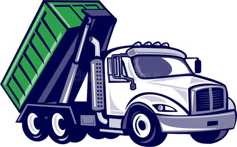 Roll-Off Truck Bin Truck Cartoon. Illustration of a roll-off truck with container bin on back viewed from side set on isolated white background done in cartoon vector illustration