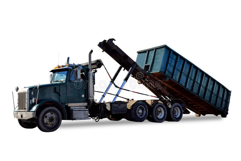 Roll Off Truck Unloading Trash Container Dumpster Stock