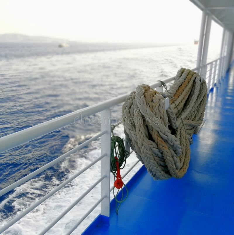 Roll of old ship& x27;s ropes, toned. Roll of old ship& x27;s ropes royalty free stock photos