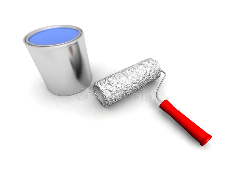 Roll painter and blue can vector illustration