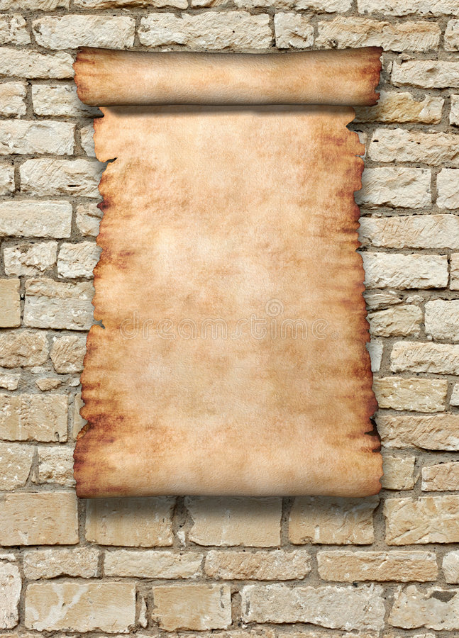 Roll Of Parchment on Wall vector illustration
