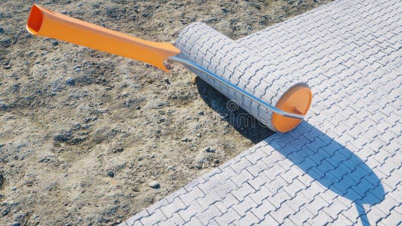 A roll of paving slab. Brush of paving slab. Building concept. 3d rendering. A roll of paving slab. Brush of paving slab. Building concept. 3d rendering stock illustration