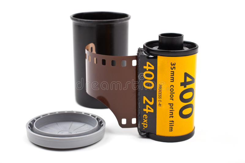Roll of Photographic Film. A roll of Photographic film on a white background stock photography