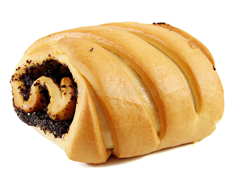 A roll with poppy seeds. royalty free stock images