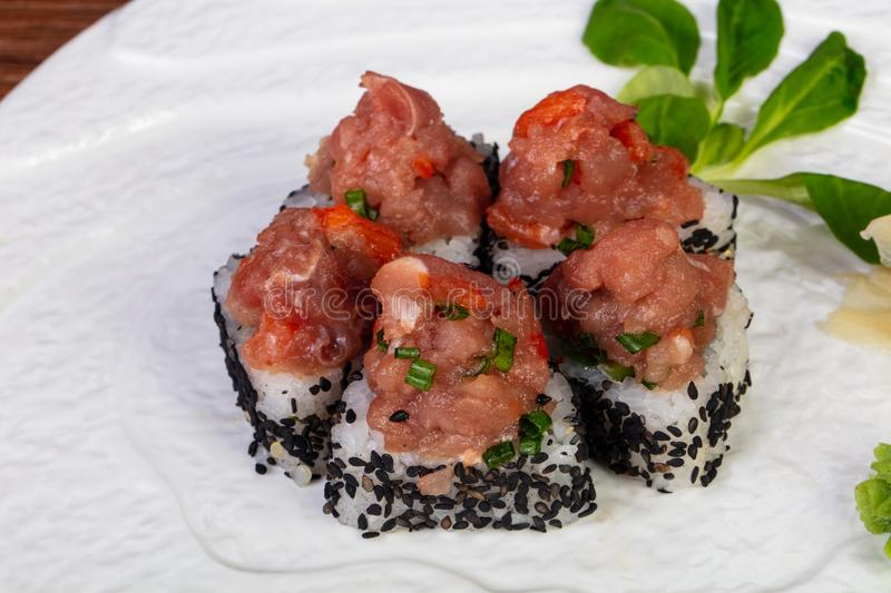 Roll with raw beef royalty free stock image