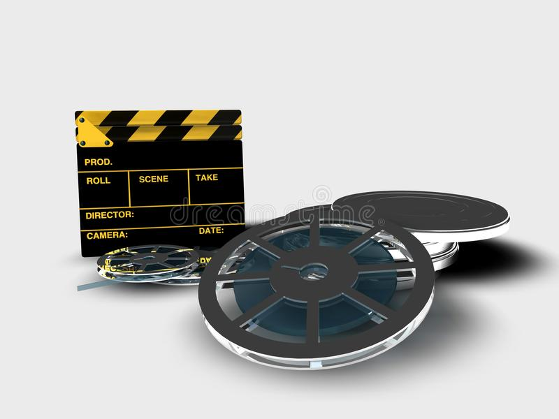 Clapperboard and reel of film. A roll or reel of film, in the film context, indicates the exact amount of film in a copy of a film stock illustration