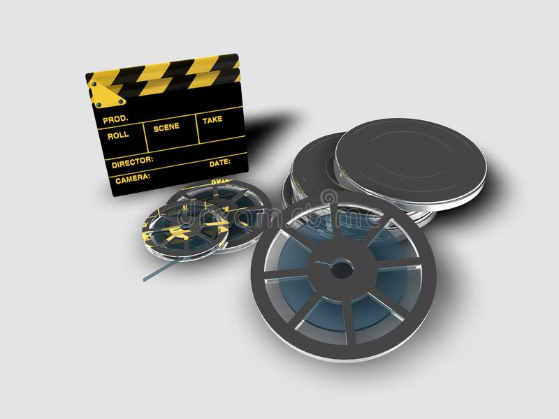 Clapperboard and reel of film. A roll or reel of film, in the film context, indicates the exact amount of film in a copy of a film royalty free illustration