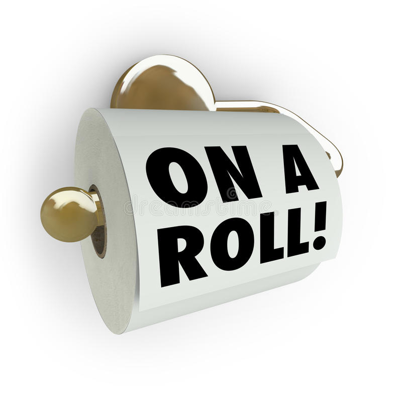 On A Roll - Saying On Toilet Paper Dispenser Royalty Free Stock Images