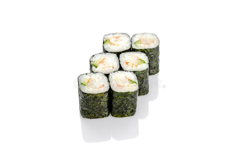 Roll with shrimp and cucumber, mayonnaise, against royalty free stock image