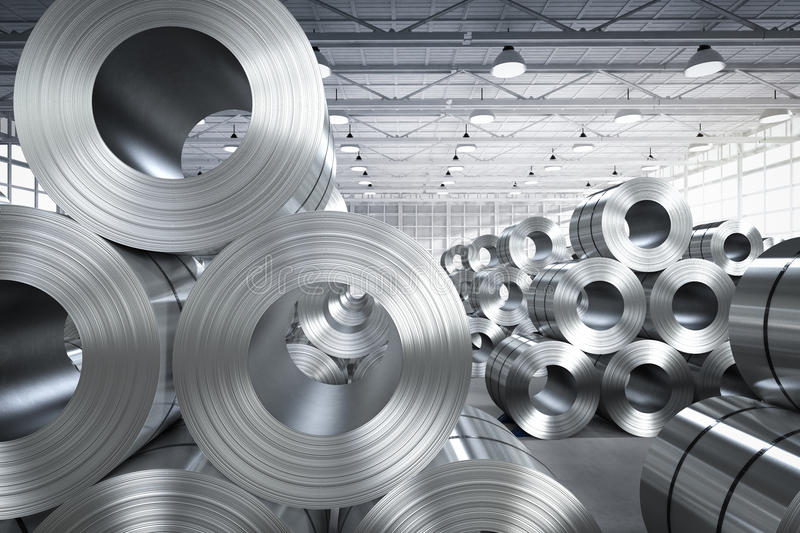 Roll of steel sheet in factory royalty free stock photos