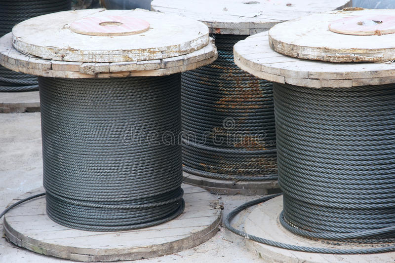 Roll of steel wire. The close-up of roll of steel wire royalty free stock image