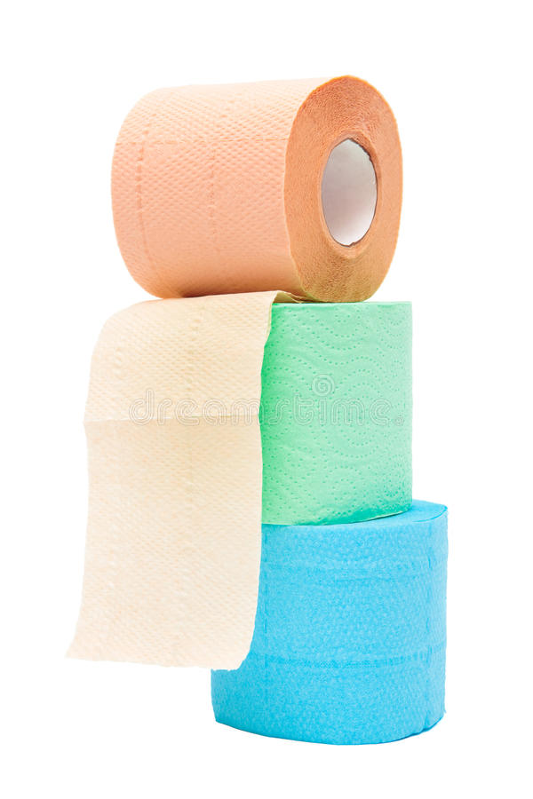 Roll of a toilet paper. On a white background stock image