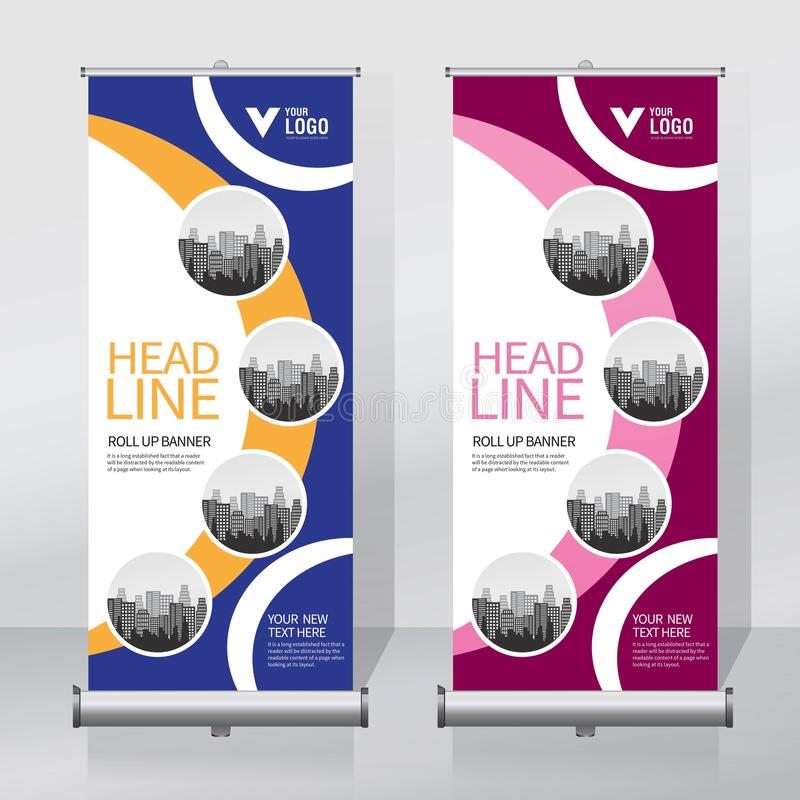 Roll up banner, pull up banner, x-banner, modern vertical new vector design template. Vector, Editable, Proportion size 85x200cm vector illustration