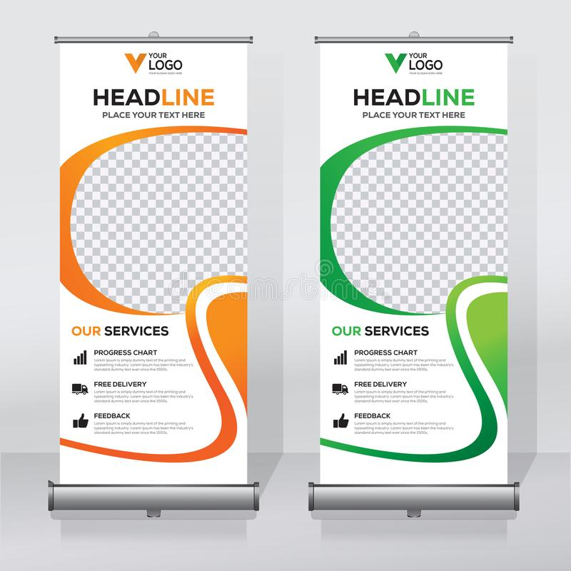 Roll up banner design template, vertical, abstract background, pull up design, modern x-banner, rectangle size. stock illustration