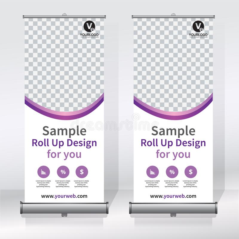 Roll up banner design template, vertical, abstract background, pull up design, modern x-banner, rectangle size. royalty free illustration