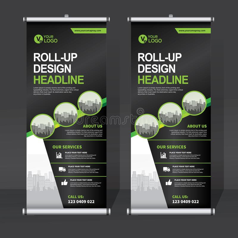 Roll up banner design template, vertical, abstract background, pull up design, modern x-banner, rectangle size. vector illustration
