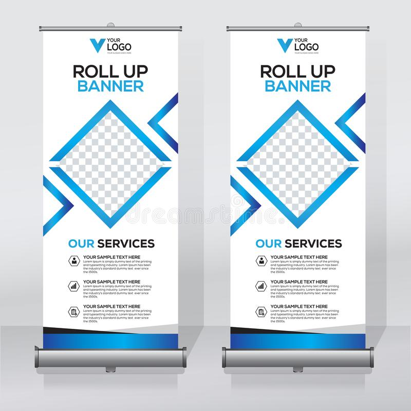 Free Roll Up Banner Design Template, Vertical, Abstract Background, Pull Up Design, Modern X-banner, Rectangle Size. Royalty Free Stock Photography - 107451527
