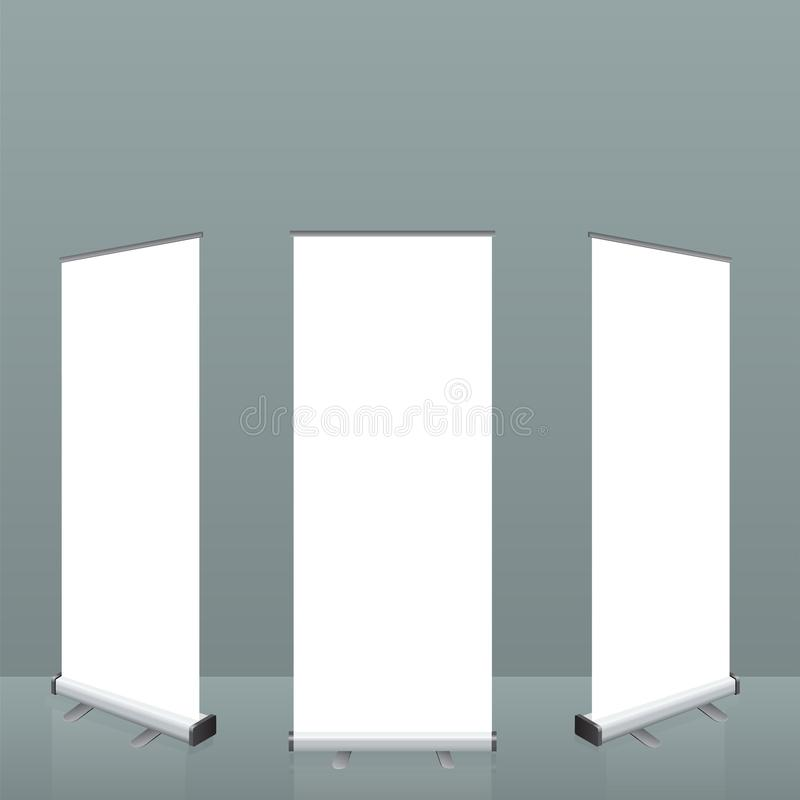 Roll up banner stand. Empty show display set template for presentation or exhibition your product. Illustrated vector. stock illustration