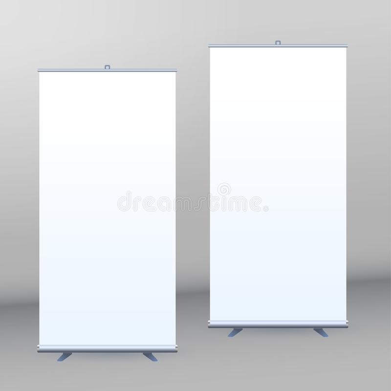 Roll Up Banner Stand on isolated clean background vector illustration